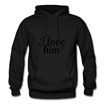 Sarahdiaz Style Personality Women I Love Him Hoody - I Love Him Printed In X-large