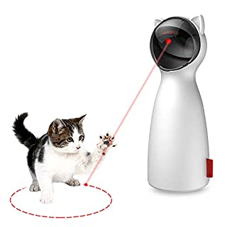 IIKOOPEEK Cat Laser Toys Automatic Interactive Pet Laser Point Toy for Cats Kitten Dogs Range and Height Adjustable USB/Battery Charging Operated Silent 5 Random Pattern Adjustable