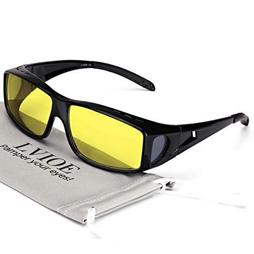 LVIOE Wrap Around Style Polarized Night Driving Glasses to Wear Over Regular Prescription Glasses (Black, Yellow) (Driving Gläser)