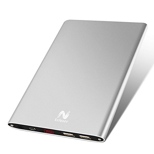 Portable Charger,Keluoer 20000mah Ultra Slim Power Bank Dual USB Port External Mobile Battery Pack for Iphone Ipad Samsung Galaxy Cell Phones and Tablets(Silver)