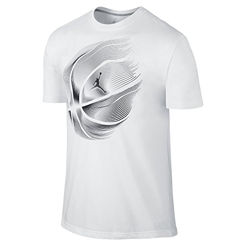 Nike Mens Air Jordan Dri-FIT Basketball T-Shirt (White/Black, Small)