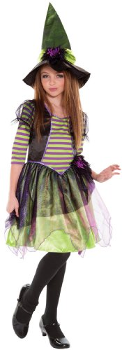 LIVING FICTION STRIPED SPELLCASTER GIRL'S GREEN & PURPLE WITCH COSTUME (MEDIUM) - Green And Purple Striped Witch Child Costumes