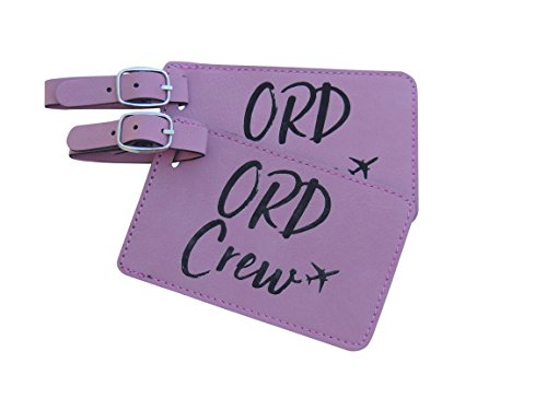 Chicago Crew Base Bag Tags for Flight Attendants,Set of Two, American Airlines (Pink)
