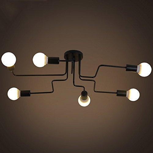 JZMB   Industrielle Decks Deckenleuchte & ndash; 8 Lampenfassung Schmiedeeisen Lampe Kronleuchter Pendelleuchte 6 lampen & Hellip;