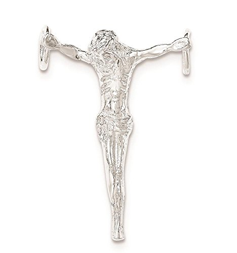 - 925 Sterling Silver Polished & Textured Jesus Cross Chain Slide Charm Pendant