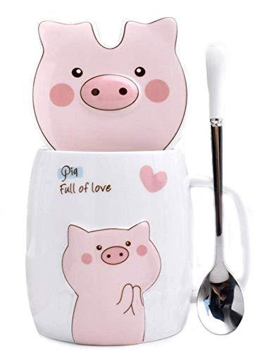 123Arts Ceramics Pig Coffee Mug Water Tea Cup with Lid Spoon (Pig Coffee Mugs)