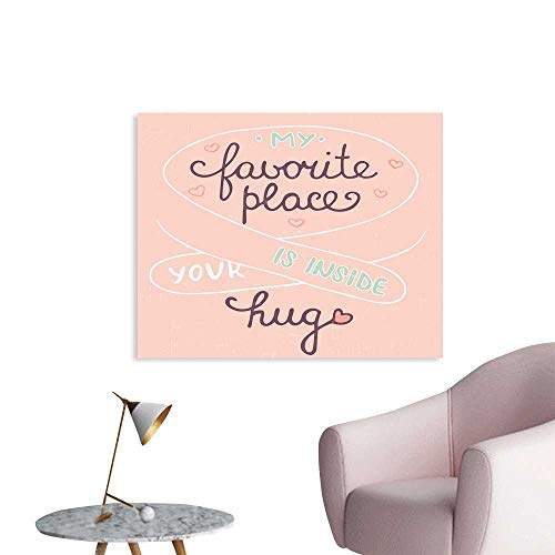J Chief Sky Romantic Wall Paper Your Hug is My Favorite Place Quote with a Soft Color Palette Romantic Pattern Decor Sticker W32 xL24