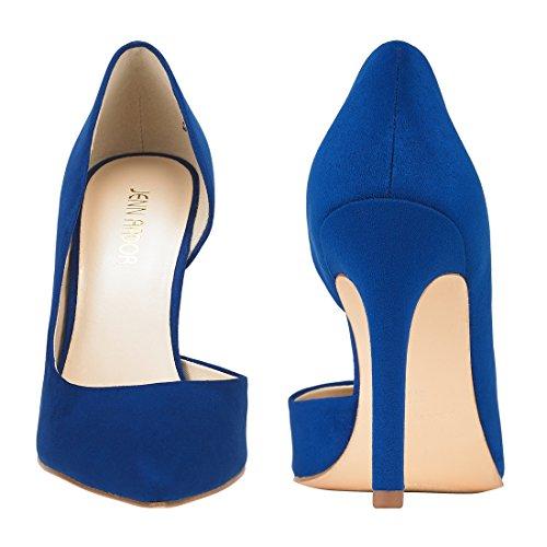 JENN ARDOR Stiletto High Heel Shoes for Women: Pointed, Closed Toe Classic Slip On Dress Pumps-Blue by JENN ARDOR (Image #2)