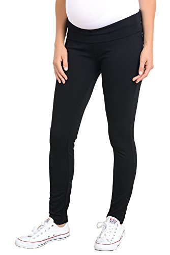 Hello Miz LaClef Women's Strechable Ponte Fold Over Waist Band Skiny Comfy Maternity Pants