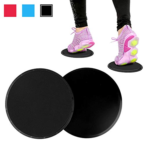 SANTIAOTUI Dual Sided Exercise Sliders, Core Gliding Discs for Wide Variety of Low Impact Exercise's You Can Do, Perfect for Use on Carpet or Hard Floors,Red (Black)