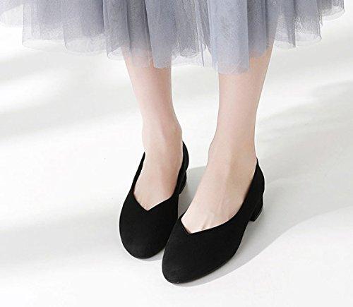 NBWE Bocca Donna 409 Dimensioni Tacco di Basso Mocassini da Scarpe Grandi Black Color Profondi Poco Scarpe con Caramello YwEqrw