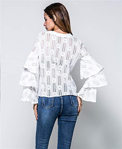 Blouse lgant Femmes Taille T Chic YAMEE Transparent Grande Dames Plus Casual Sexy Longues Size Chemisier Tops Manches Blanc Shirt z44qdcwTR