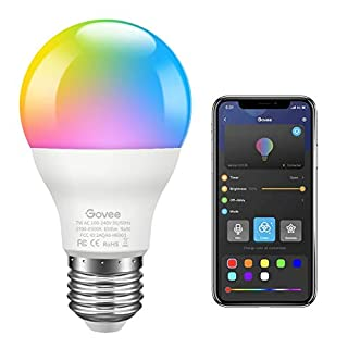Govee LED Light Bulb Dimmable, Music Sync RGB Color Changing Light Bulb A19 7W 60W Equivalent, Multicolor Decorative No Hub Required Smart LED Bulb with APP for Party Home (Don't Support WiFi/Alexa)