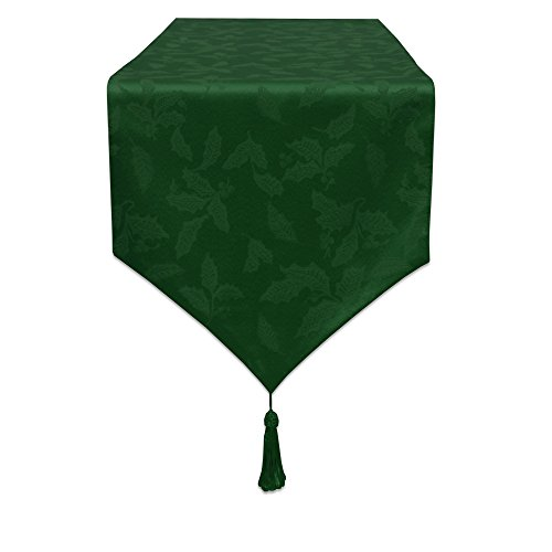 Lenox Holly Damask Runner, 70-Inch, Green