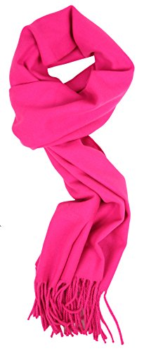 Love Lakeside-Women's Cashmere Feel Winter Solid Color Scarf Fuschia Pink