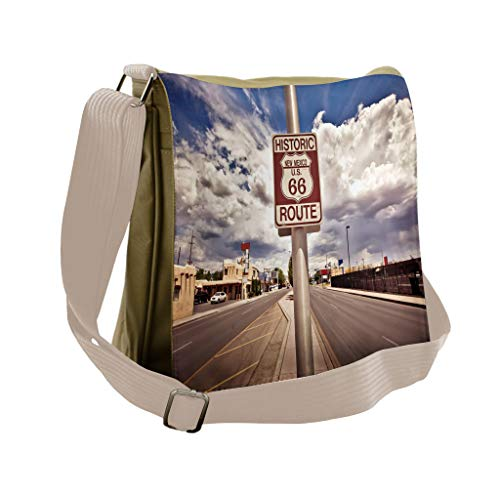 Lunarable Americana Messenger Bag, Route 66 Roadway Sign, Unisex Cross-body