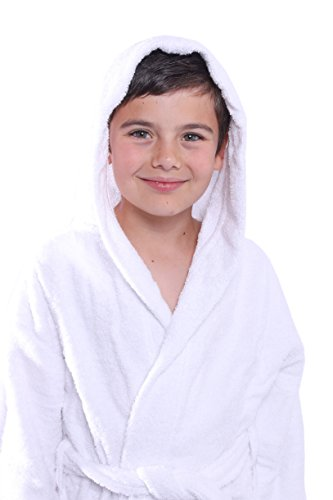 - Bagno Milano Kids - Unisex Hooded Bathrobe - 100% Organic Turkish Cotton - Boys - Girls Robe, Made in Turkey (Small/Age 3-5, White)
