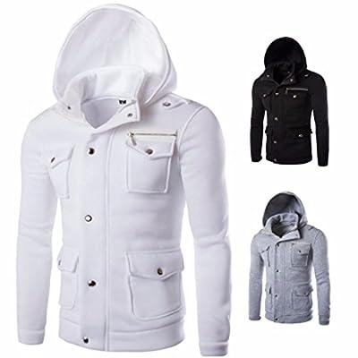 Hoodies,Han Shi Men Fashion Pocket Button Coat Jacket Sweater Swearshirt Outwear Tops