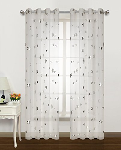 Silver Star Print Curtains White Sheer Window Drapes With Twinkle Star for Living Room 2 Panels Eyelet/Ring Top Transparent and Soft Cosmic Theme for Bedroom and Space-Loving Grown-ups 54
