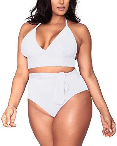 Women's White 2 Piece Plus Size High Waisted Tummy Control Swimwear Swimsuit Sets L 12
