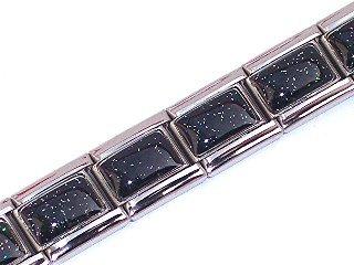 Black Shimmer Italian Charm Bracelet (Womens Black Italian)