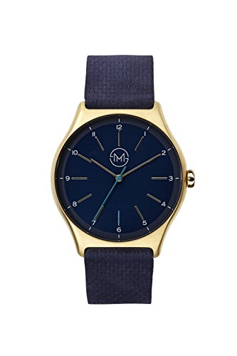slim made one 10 - Elegant thin unisex watch in gold / blue