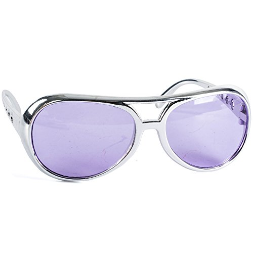 Funny Party Hats Rock Star Sunglasses - Lavender with a Silver Frame Rockstar Glasses -