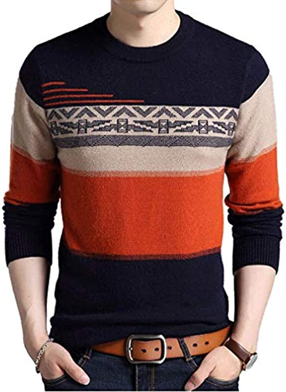 Męski casual sweter Knit Crew Neck Sweater Sweatshirt ubranie wiosna jesień luźny długi rękaw nadruk sweter dziergany sweter: Odzież