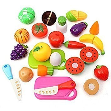 OULII Kitchen Fruit Vegetables Food Toy Cutting Set Kids Pretend Role Play Kids Gift Birthday Gift for Children, pack of 20 (Random Color)