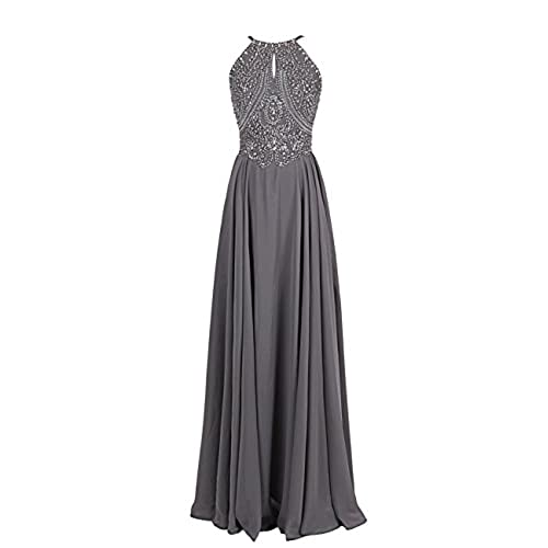 Dressystar 800401 Sparkling Straps Formal Gowns Beading Prom Evening Dresses Backless 8 Grey