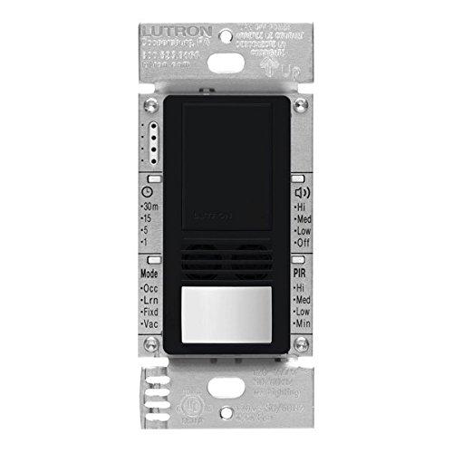 Lutron MS-B102-V-BL Motion Sensor, 120V/277V Single-Pole Maestro Vacancy Sensor Switch - Black by Lutron