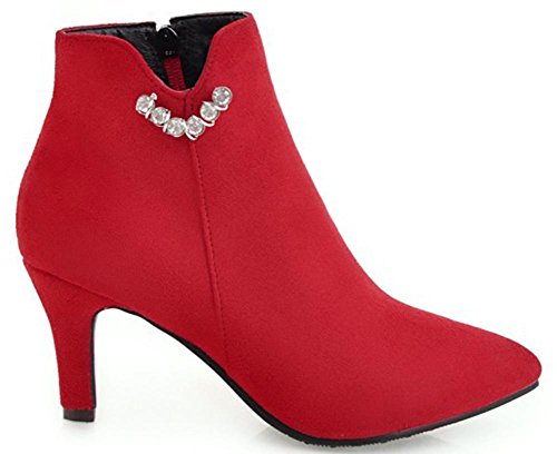 High Sweet Zipper Ankle Mid Heels Faux Women's Short Easemax Stiletto Red Suede Pointed Boots Toe Side gwHqxf5xO