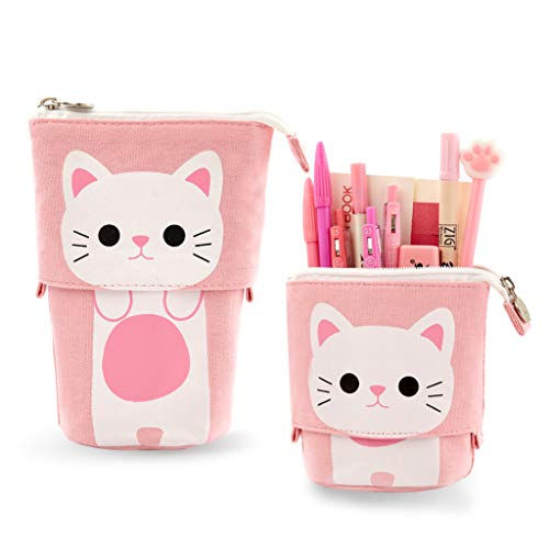 EASTHILL Transformer Stand Store Pencil Holder Canvas+PU Cartoon Cute Cat Telescopic Pencil Pouch Bag Stationery Pen Case Box with Zipper Closure 7.5 x 4.9 x 3.0inch/4.1x 3.0inch (Pink)