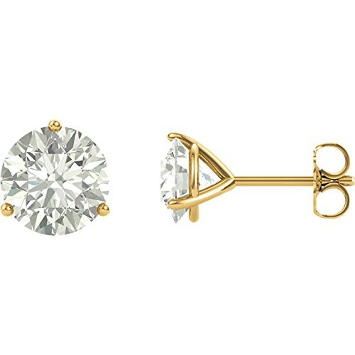 14k Yellow Gold Martini 3 prong post earrings Forever ONE Moissanite solitaire