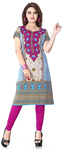 Maple-Clothing-Short-Sleeve-Top-Tunic-Kurti-Printed-Womens-Blouse-India-Clothes