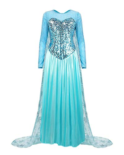 Elsa Dress Frozen Adult - Colorfog Women's Elegant Princess Dress Cosplay