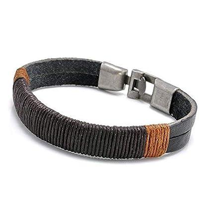 New Surfer Mens Vintage Hemp Wrap Leather Wristband Bracelet Cuff Black Brown EW sakcharn (Black