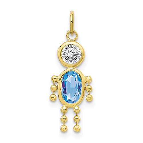 10k Yellow Gold March Boy Birthstone Pendant Charm Necklace Kid Fine Jewelry Gifts For Women For Her