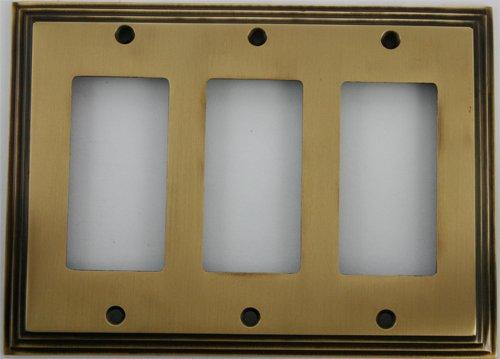 - Deco Step Style Antique Brass 3 Gang GFI/Rocker Opening Wall Plate