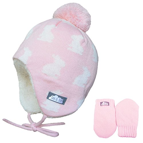 Baby Toddler Girl Warm Fall Winter HAT & Mitten Fleece Lined (S: 3-9 Months, Hat & Mitten Set: Bunny Sisters)