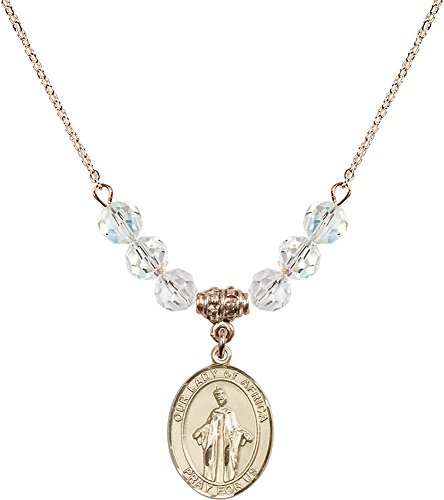18-Inch Hamilton Gold Plated Necklace with 6mm Crystal Birthstone Beads and Gold Filled Our Lady of Africa Charm. by F A Dumont