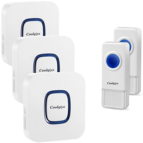 Coolqiya Wireless Doorbell with 2 Remote Button and 3 Plugin Receiver, No Batteries Required for Receiver over 50 Chimes, White