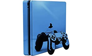 Sky Chrome Mirror Vinyl Decal Faceplate Mod Skin Kit for Sony PlayStation 4 Slim (PS4S) Console by System Skins