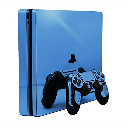 Sky Chrome Mirror Vinyl Decal Faceplate Mod Skin Kit for Sony PlayStation 4 Slim (PS4S) Console by System Skins from System Skins