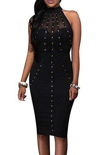 Aro Lora Women's Mesh Halter Hollow Out See-Through Hot Drilling Mini Club Dress (XXL, Black) (Hot Sexy Mini Dress)