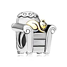 New Sterling Silver Cat In Office Chair Cute Animal Style Charm Beads Fit Pandora Jewelry Charms Bracelet