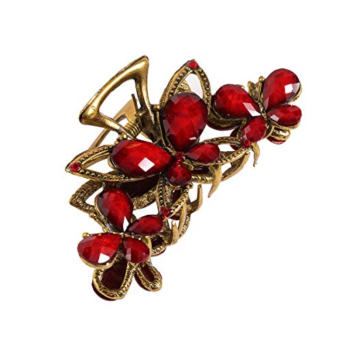 - Frcolor Butterfly Crystal Hair Clips Vintage Flower Hairpin Decorative Claws for Women and Girl