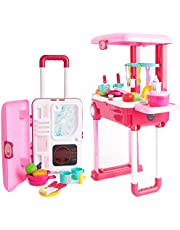 Toy Chef 2-in-1 Travel Suitcase Kitchen Set for Children | Includes Toy Pots, Pans, Dishes, Utensils & Foods ABS Plastic Pretend Play Kit for Boys & Girls (Pink)