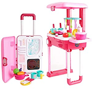 Toy Chef 2-in-1 Travel Suitcase Kitchen Set for Children | Includes Toy Pots, Pans, Dishes, Utensils & Foods ABS Plastic…