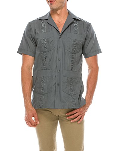 TrueM Men's Short Sleeve Cuban Guayabera Shirts (XL, Charcoal)